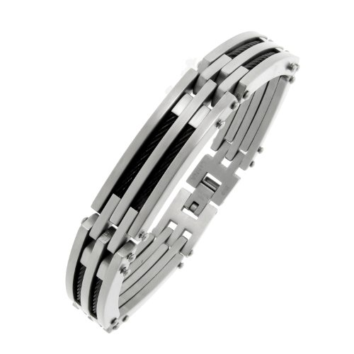 Men's Stainless Steel Cable Bracelet with Black Ion-Plated