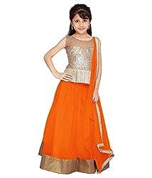 Clickedia Kids wear Girls Orange Net Lehenga Choli/ Chaniya Choli with Gota patti for Festive???? Diwali and wedding - traditional wear ( 8-12 yrs)- Semi-Stitched alterable