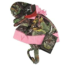Youth Kid\'s Huntworth Fleece Camouflage Beanie and Mitten Set (Pink Oaktree EVO Camouflage)