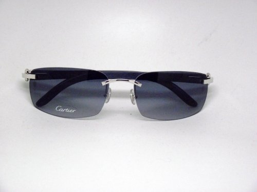 CARTIER WOOD RIMLESS SUNGLASSES DESIGNER FASHION AUTHENTIC CARTIER EYEWEAR-SMOOTH PLATINUM FINISH/WOOD FRAME T8200714