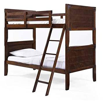 Kids Union Station Twin over Twin Bunk Bed - Rustic Cherry Finish