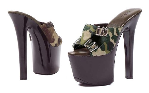 E-711-ARMY, 7 Inch Heel with Camo fabric and faux bullet d cor 9 Camel