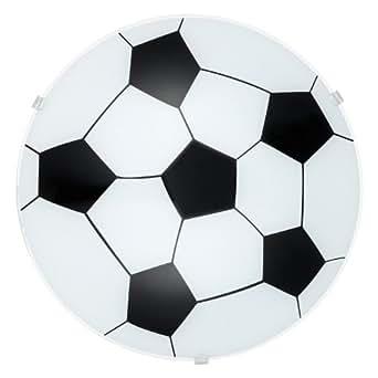 EGLO Wand-Deckenleuchte  Modell  JUNIOR 1, Stahl weiß, Glas satiniert, Motiv Fußball HV 1 x E27 maximal 60 W exklusiv Leuchtmittel, Durchmesser 24,5 cm  Ausladung 8 cm 87284 E