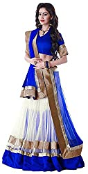 Pramukh Collection Women's Georgette Relaxed Lehenga Choli (PC13_Bluewhite_Free Size)