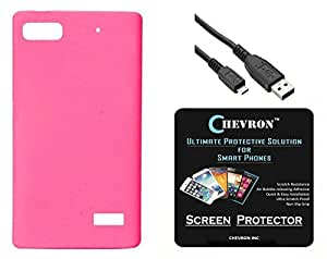 Chevron Rubberized Matte Finish Back Cover Case for Huawei Honor 4C with HD Screen Guard & Data Cable (Deep Pink)