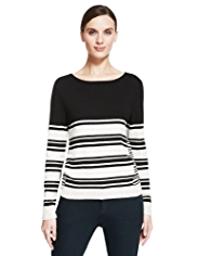 Autograph Colour Block Striped Jumper with Angora