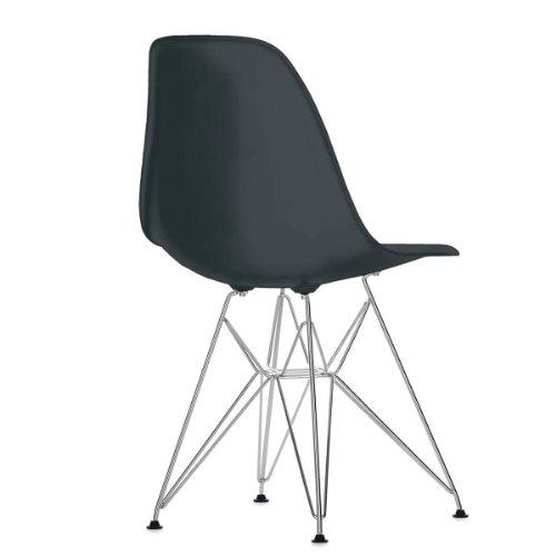 Vitra 440022000201 Eames DSR - Silla (pl�stico, patas cromadas, 810�x�465�x�550�mm), color negro