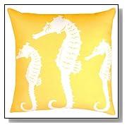 Nautical Seahorse Yellow Throw Pillow