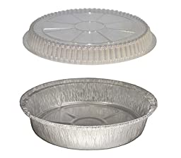 MontoPack 9'' Round Aluminum Foil Pans with Clear Plastic Lids (Pack of 40)