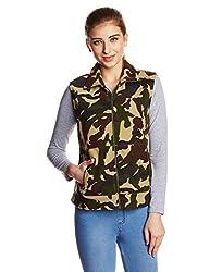 The Vanca Women's Fleece Varsity Jacket (JKF400141-Camouflage_S)