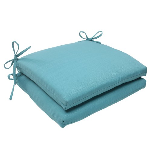 Pillow Perfect IndoorOutdoor Forsyth Squared Seat Cushion Turquoise Set of 2