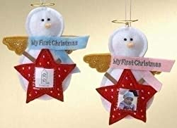 """My First Christmas"" Baby Girl Photo Pocket Christmas Ornament"