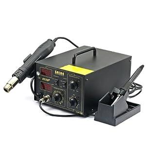 Saike 852D+ Systeme 2 en 1, Pistolet Air Chaud & Fer a Souder Digitial 220V