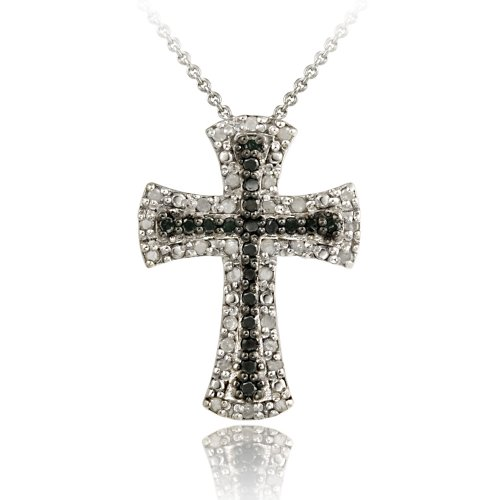 Sterling Silver 1/2 CT TDW Black and White Diamond Cross Necklace, 18&quot;