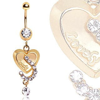 Clear Multiple Crystal Stunning Gold Plated Engraved
