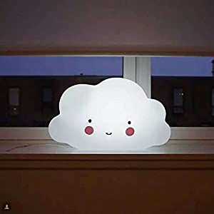 Cute Mini Cloud Face LED Lamp Night Lights for Kids Room, Bedroom, Nursery, Outdoor (White Cloud) by BRZONE