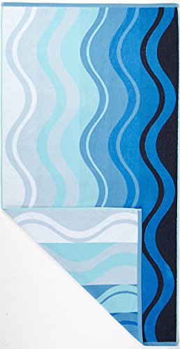 Arus Turkish Terry Cotton Beach Towel Waves Blue Home