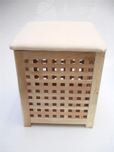 Wooden Bedroom Bathroom Laundry Basket padded Storage Box Seat footstool Pouffe