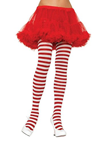 Girl Stripe Tights Child Large Red/White