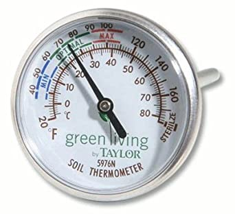 "Taylor Soil Testing Thermometer, 4"" Stem, -20 to 180 Degrees F"