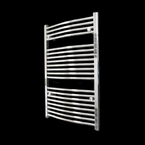 Novara Curved Chrome Heated Bathroom Towel Rail Radiator 970 x 600 mm