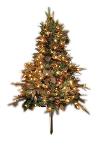 GKI Bethlehem Lighting 4-Foot Green River Spruce Stake Christmas Tree Pre-lit with 150 Clear Mini