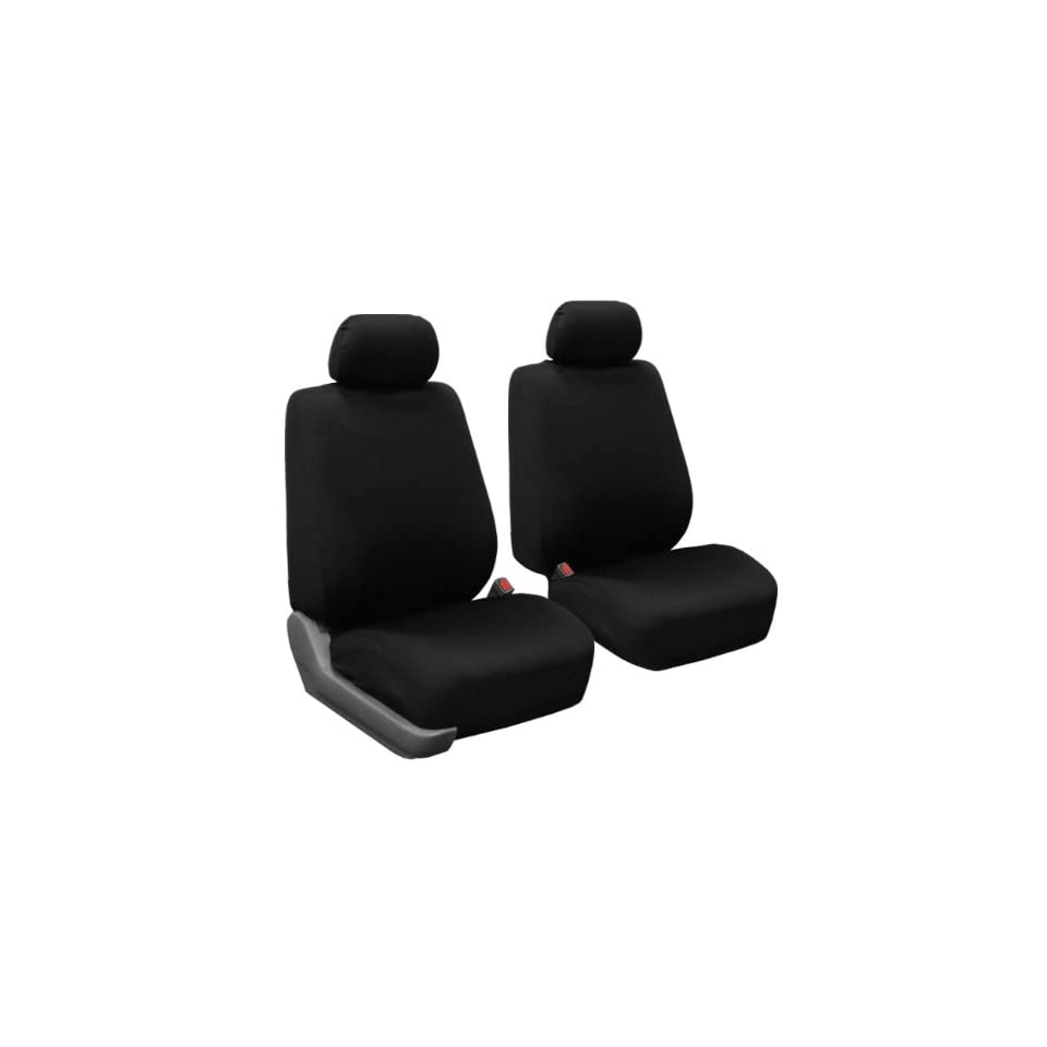 FH FB056102 Modern Flat Cloth Bucket Seat Covers Black Color Automotive