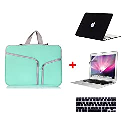 Laptop Sleeve 4-In-1 , Go Crazzy Zipper Briefcase Soft Handbag Sleeve With Matte Rubberized Hard Case With Free Lcd Clear Screen Protector Film Guard + Keyboard Protector Compatible For Macbook Air 13.3 Inch