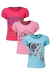 Goodway Junior Girls Stye-8- Colour - Combo Pack of 3 T-Shirts - 2-3 Years