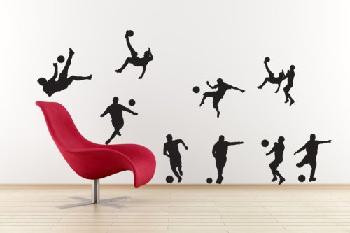 Vinyl Concept - Football Players Set, Footy Set Of 9 Wall Stickers Removable, Easy To Remove, Children'S Wall Stickers, Art Mural, Art Decor, Sticker Diy Deco : Black -- Medium