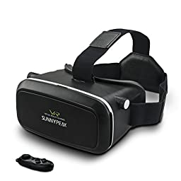 SUNNYPEAK Google Cardboard V2 Virtual Reality Headset 3D Movie Games Glasses VR Headset Immersive 360 Viewing for iPhone 6 Plus/Samsung Note 4/LG/HTC/Moto + Bluetooth Remote Controller, Black