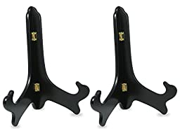 Black Wooden Easels Premium Quality Plate Holder Folding Display Stand Set 2 Pieces - 11 Inch