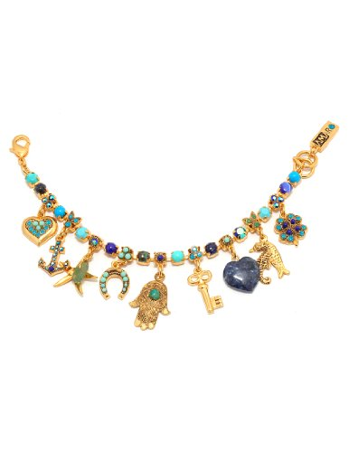 Splendid 24K Yellow Gold Plated Bracelet from 'Inspiration' Collection Designed by Amaro Jewelry Studio Embellished with Sodalite, Amazonite, Chrysocolla, Turquoise, Lapis and Swarovski Crystals, Set with Fancy Charms; Handmade in Israel