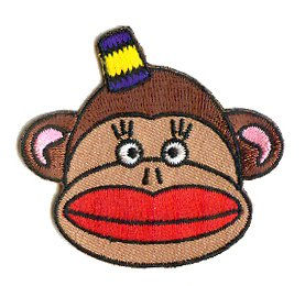 "Strephon Artist Patch - 2.25"" Red Lips Sock Monkey Face"