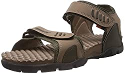 Sparx Mens Olive and Camel Brown Sandals and Floaters - 8 UK