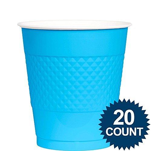 Amscan BB100315 Bright Blue Plastic Cups, 12 Oz.