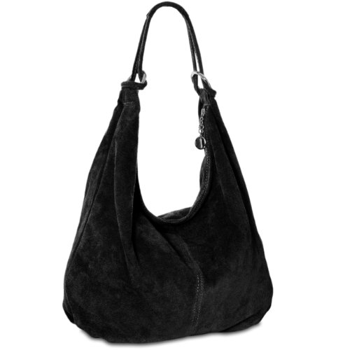 CASPAR Womens Suede Leather Shoulder Bag Slouch Hobo Shopper MADE IN ITALY TL617