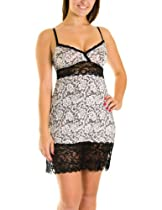 Marilyn Monroe Lace Trims and Lace Cut Outs Chemise (Medium, Linen Lace)