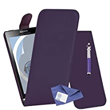 buy Italkonline Sony St25I Xperia U Purple Pu Leather Executive Multi-Function Vertical Flip Wallet Case Cover Organiser With Lcd Screen Protector And Headphone Mount 3.5Mm Retractable Mini Stylus Pen