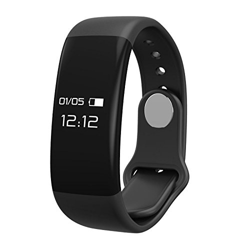 Fitness tracker, KuGi Bluetooth Fitness Tracker Watch, H30 IPX7 waterproof OLED screen Fitness Tracker smartwatch + Heart Rate Monitor Pedometer Smart Wristband Band for Android and iOS, kids (Black)