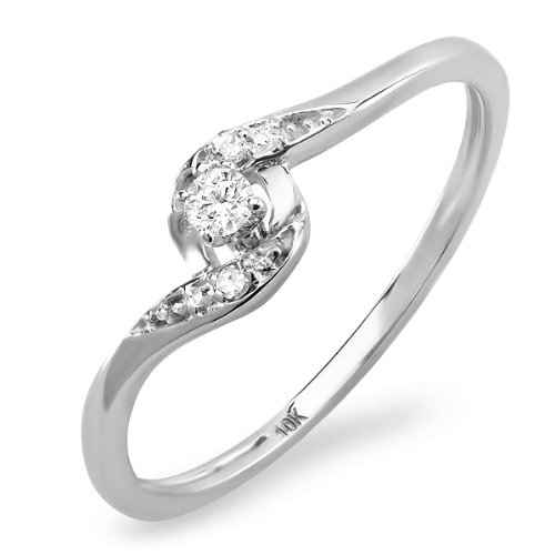 0.08 Carat (ctw) 10k White Gold Round Diamond Ladies Bridal Promise Engagement Ring 1/10 CT