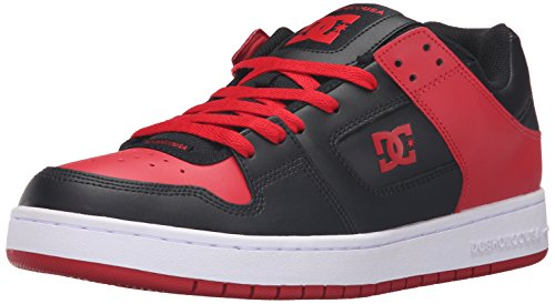 DC Men's Manteca Skate Shoe, Black/Red, 10.5 M US
