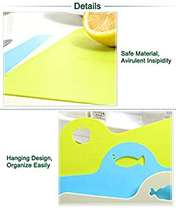 Honla Kitchen Accessories,3-Piece Flexible Plastic Chopping Board with Hanging Holes,Color Coded Cutting Mats Set-Cool Chef Gadgets/Tools for Fruit/Vegetables/Fish/Meat-Lime Green,Gray,Blue