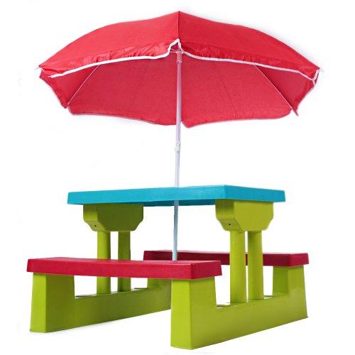 Child Picnic Bench Set Red Parasol Green Kids Children Table Garden 4 seater