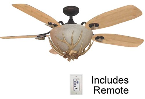 Rustic Ceiling Fan with Light. has Remote Control, Up to 180 watts ...:Rustic Ceiling Fan with Antler Fan Light. Up to 180 watts of light, lodge,Lighting