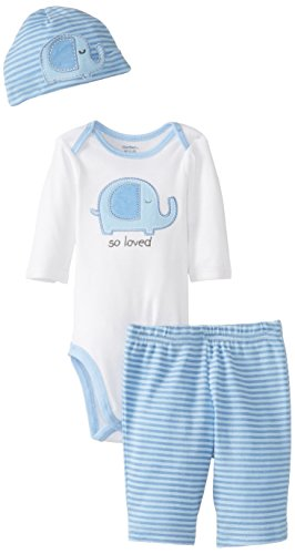 Gerber Baby-Boys Newborn 3 Piece Long Sleeve Bodysuit Pant And Cap, Elephant, 0-3 Months