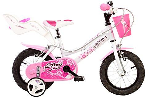 """Dino Bikes 126 RSN bicicletta 12"""" con rotelle, cestino eaccessorio porta bambole per bambine da 3 a 5 anni"""