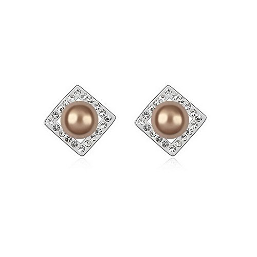 One Pair Square Pearl Style Cultured Pearl Fashion Ear Ring Earring, Copper