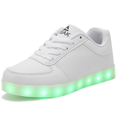 PEAK Kid Boy Girl USB Charging 7 Colors LED Light UP Sport Shoes Flashing Sneakers White Size US6.5 M (Seven Peaks compare prices)