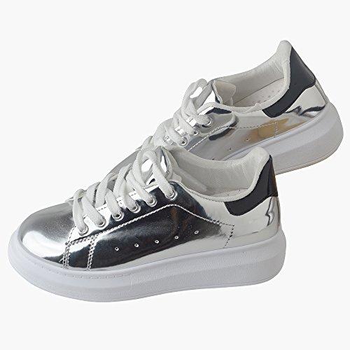 Spritech(TM) Men Women Unisex Fashion PU Leather Lace Up Lovers Casual Flat Sneaker Shoes Silver 39
